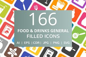 166 Food & Drinks Filled Icons