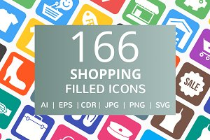 166 Shopping Filled Icons