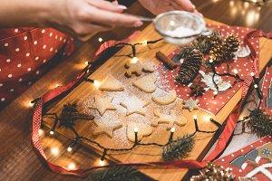 Adding Sugar on Christmas Cookies