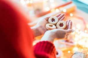 Woman Holding Christmas Cookies