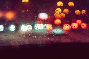 Abstract Night City Traffic Bokeh