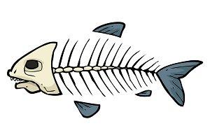 Fish skeleton doodle