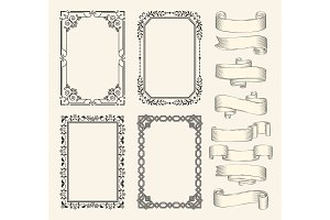 Frames and ribbons vector monochrome