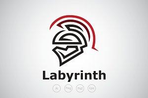 labyrinth Sparta Logo Template