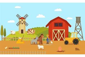 Farm or Ranch with Cartoon