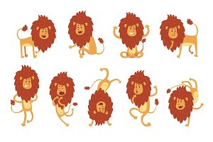 Collection of lion in various poses