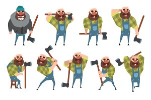 Set of funny bald lumberjack in