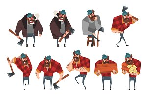 Cartoon set of lumberjack in