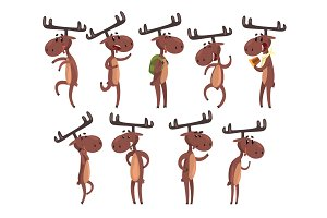 Cartoon set of funny brown moose in