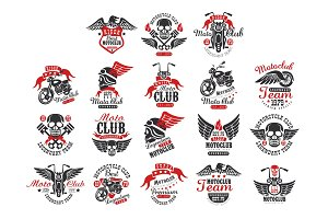 Set of vintage motorcycle club