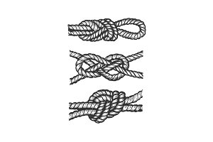 Marine knots engraving vector