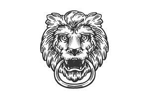 Lion door handle engraving vector