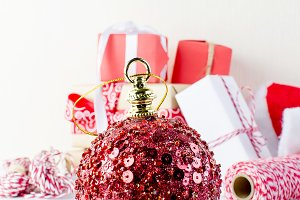 Red big Christmas ball and Gift boxe