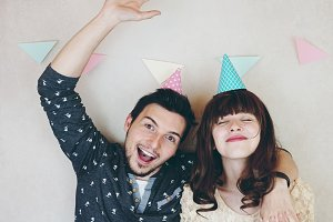 Young couple celebrating a birthday
