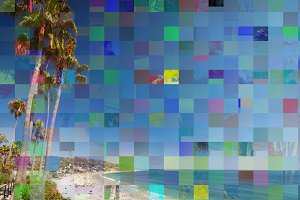 Glitch effect on a photo with palms