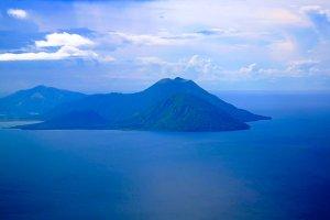 Aerial view to Tavurvur volcano, Rab