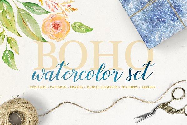 Objects: Liška - Boho watercolor set