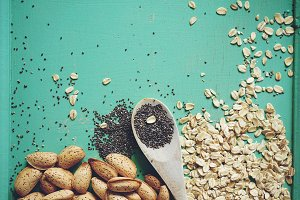 background of grains and seeds