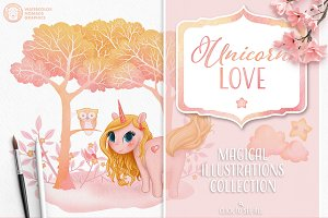 Unicorn illustration & patterns set