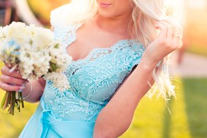 Bridesmaid with Blue Dress