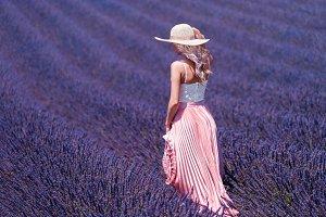 Woman in Wonderful Lavender Field