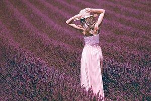 Beautiful Woman Posing in Lavender