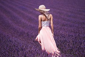 Beautiful Woman in Lavender Field