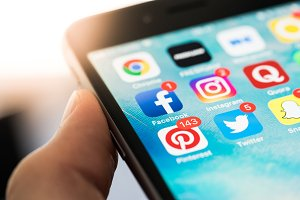 Social Media App Icons on Screen