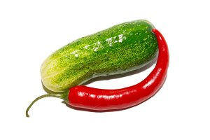 Cucumber and red pepper