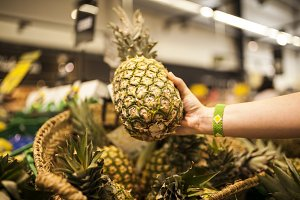 woman's hand picking a pineapple
