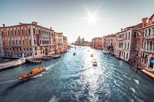 Boats on Canal Grande, Venice, Italy