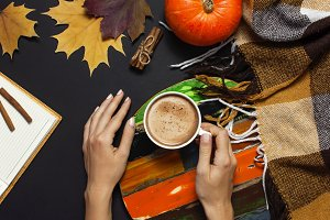 Cup of pumpkin cocoa or coffee