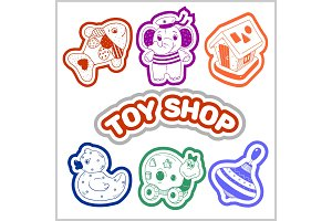 Kids toys cartoon - vector icons