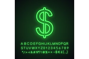 Dollar neon light icon