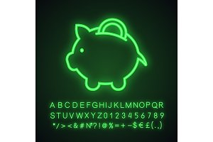 Piggy bank neon light icon