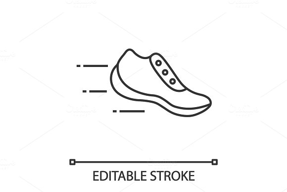 Flying Sneaker Linear Icon Icons Creative Market