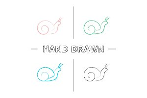 Snail hand drawn icons set