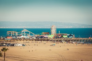Ferris wheel on Santa Monica pier in