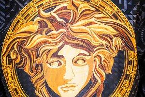Versace logo as Medusa close-up