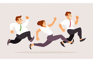 Running business people vector