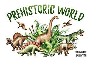 Prehistoric world. Watercolor bundle
