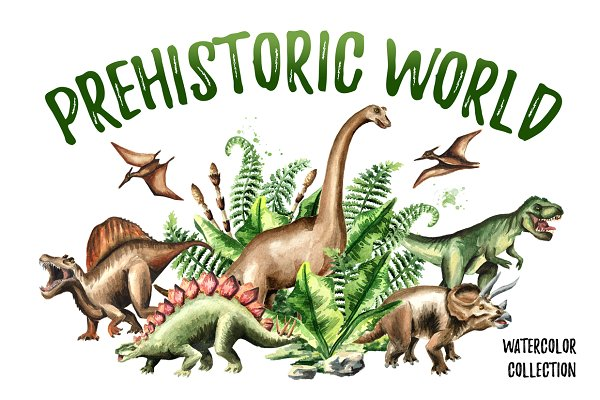 Prehistoric world. Watercolor bundl…