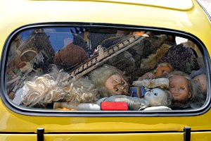 Creepy abandoned children's dolls