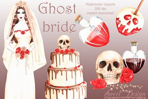 Ghost bride clipart.