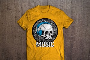Music and skull T-shirt design