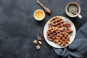 Whole wheat waffles with honey