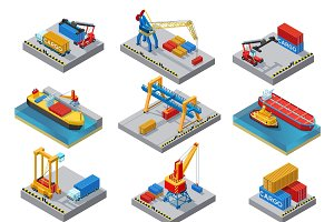 Isometric Sea Port Elements Set