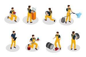Isometric Auto Service People Set