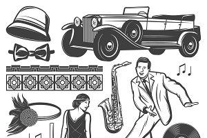Vintage Retro Party Elements Set