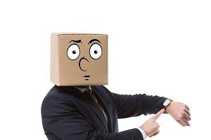 businessman with cardboard box on he